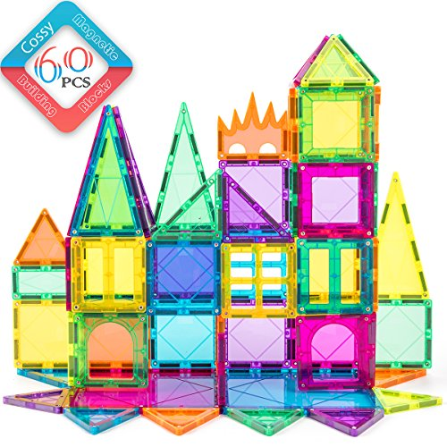 cossy 60 Pcs Magnet Tiles Magnetic 3D Building Blocks Set Educational Construction Toys for 3+ Year Kids with Stronger Magnets, Rivets-Fastened, Educational,Recreational, Conventional