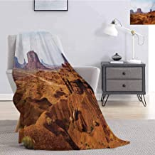 Luoiaax Desert Plush Blanket for Bed Couch Monument Valley View from John Fords Point Merritt Butte Sandstone Image for Living Room Bed or Couch Blanket W60 x L80 Inch Baby Blue Mauve Amber