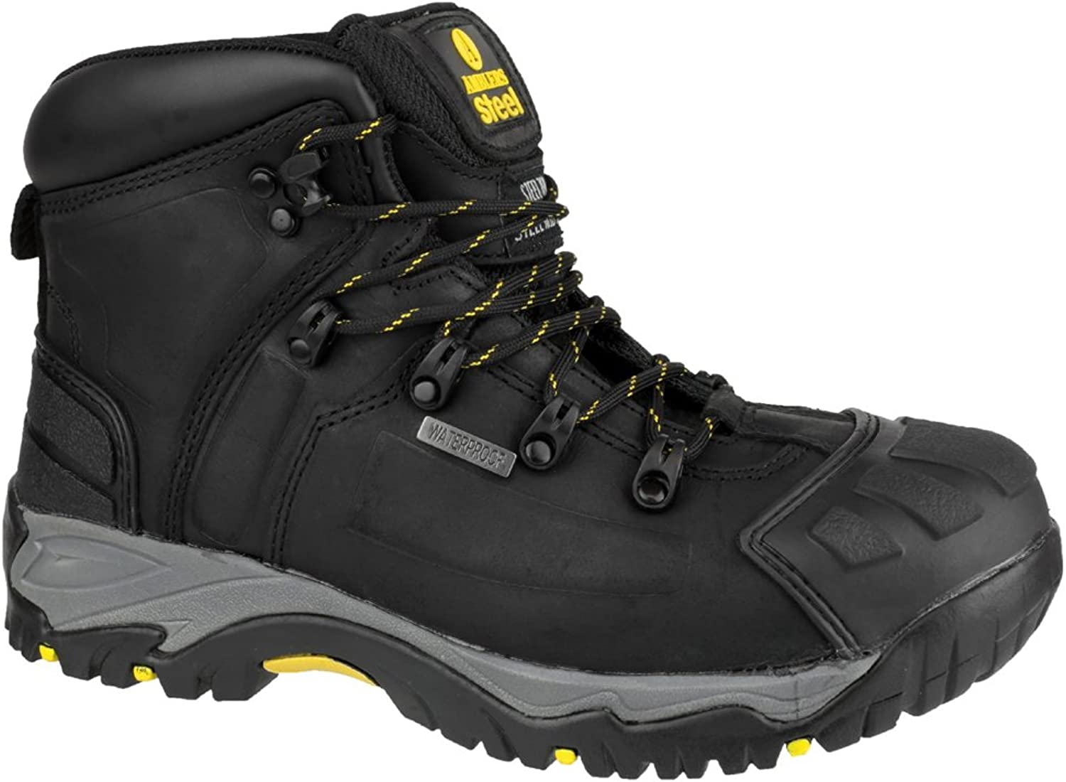 Mens Amblers Black Grey Leather Waterproof Safety Toe Cap Work Boots Sizes 7 8 9 10 11 12 13 14 15