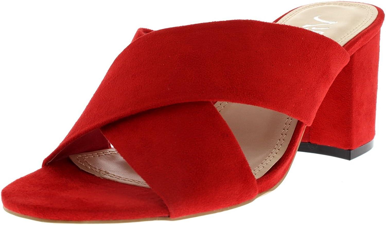Viva Womens Open Toe Cut Out Mules Fashion Block Heel Sandal Cross Strap Heel