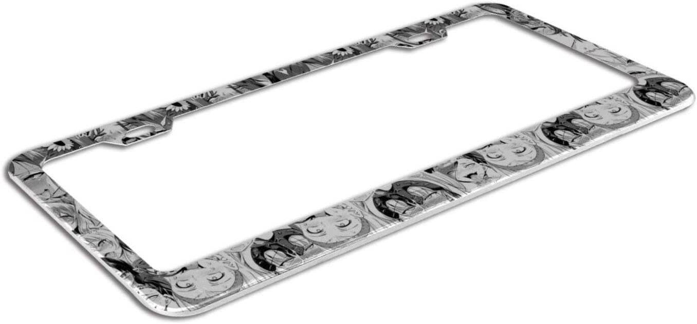 2 Pcs Stainless Steel Car Licence Plate Covers GMWD Ahegao Waifu License Plate Frame