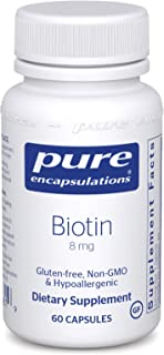 Pure Encapsulations - Biotin 8 mg - Hypoallergenic B Vitamin Supplement - 60 Capsules