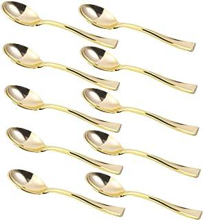Cabilock 80 Piezas Mini Cucharas de Plástico de Oro Cucharas de Degustación de Plástico de Oro Cuchara de Postre de Oro pa...