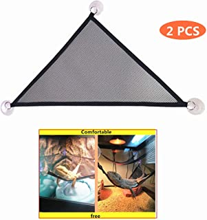 KHLZ US Reptile Hammock Lounger & Ladder Accessories Set for Large & Small Bearded Dragons Anole Geckos Lizards or Snakes (Triangle, 19×13×13 inch, 2 Pack)