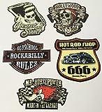 MG610 / Aufkleber Set Rocker Breite je ca. 6cm Rockabilly Hot Rod Shop Sticker 666 Devil Old School Grease 50th 60th 70th