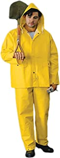Heavy Weight Rain Suit with Hood for Men and Women Waterproof (5XL, Yellow)