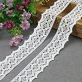 Yulakes - Tira de encaje de algodón blanco de 9,14 m y 4,4 cm, de estilo vintage, para costura, artesanía, decoración, bodas, álbum de recortes, paquetes de regalo