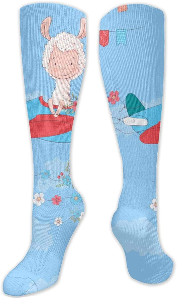 Christmas Cartoon Sheep Girl Airplane Knee High Socks Leg Warmer Dresses Long Boot Stockings For Womens Cosplay Daily Wear