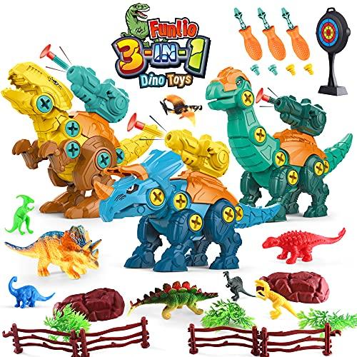 Set di 3 dinosauri Giocattoli per l apprendimento dei bambini Set di giocattoli da costruzione, Kit da gioco di ingegneria edile Giocattoli STEM per 3 4 5 6 7 anni Ragazzi e ragazze