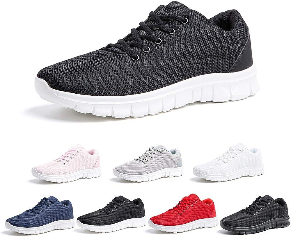 Zapatillas de Running Hombre Mujer Deportivas Casual Gimnasio Zapatos Ligero Transpirable Sneakers 34-47 EU