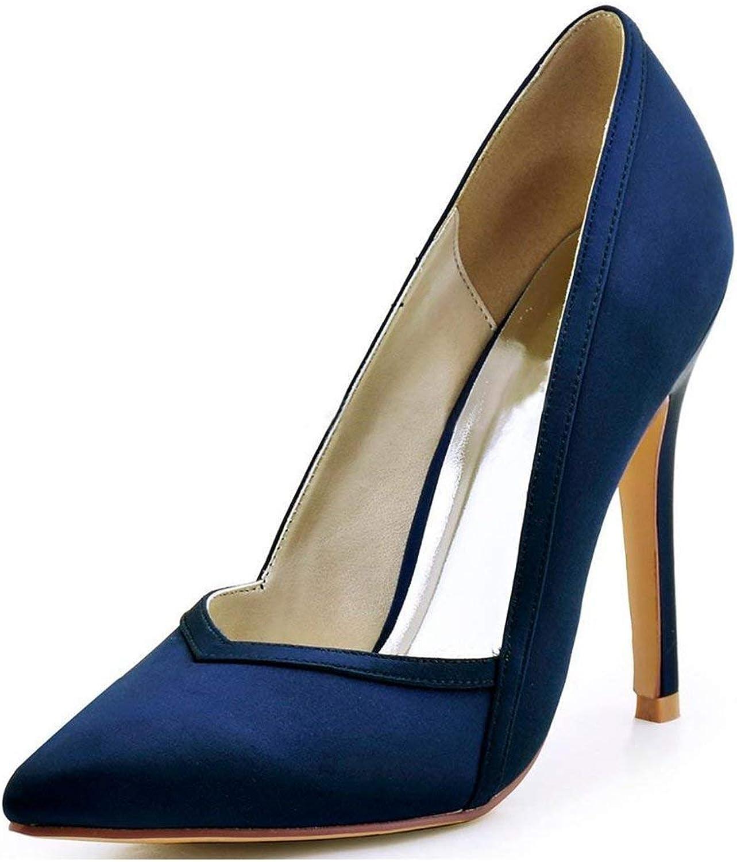 Qiusa Damen Spitz Stiletto High Heel Marineblau Satin Hochzeit Hochzeit Hochzeit Abend Pumps UK 4.5 (Farbe   -, Größe   -)  bc14a4