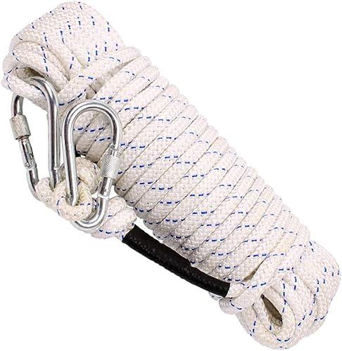 LIZIPYS Cordes Corde de sécurité pour Corde d'escalade Corde d'évacuation Noyau en Acier de 11 mm de diamètre Longueur 10 15 20   25m   30 35 40 45 50 60 70 80 90   100m Blanc Bleu