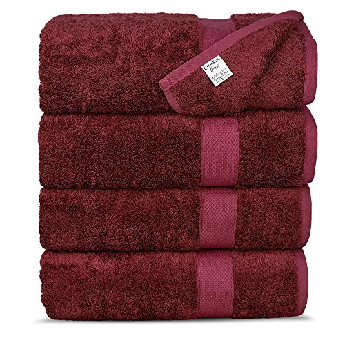 Chakir Turkish Linens Luxury Ultra Bamboo 4-Piece Bath Towel Set - Soft, Absorbent and Eco-Friendly, Cranberry