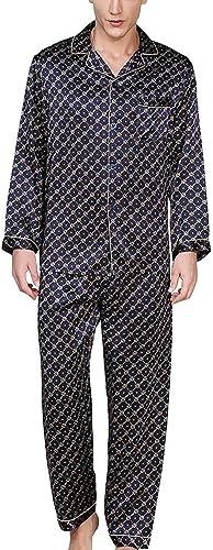 HUIFEI Ensemble Pyjama Noir for Hommes en Tissu 100% Soie, Pantalon à Manches Longues, 2 Ensembles De VêteHommests De Loisirs for La Maison (Couleur   noir, Taille   L)