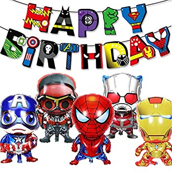 Superhero Happy Birthday Party Decorations for Boys Girls With Happy Birthday Banner and Captain American Spider-Man Iron-Man Balloons Superhero Party Supplies Balloons