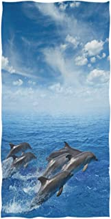 Naanle 3D Marine Dolphins Jumping Out of Sea Print Soft Guest Hand Towels for Bathroom, Hotel, Gym and Spa (16 x 30 Inches)