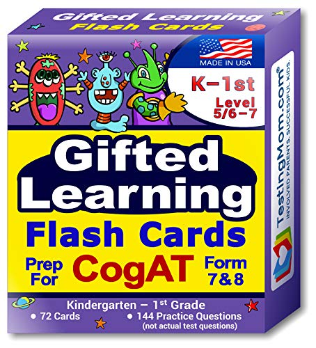 TestingMom.com CogAT Test Prep Flash Cards – Kindergarten (Level 5/6) - Grade 1 (Level 7) – 140+ Practice Questions – Tips for Higher Scores on the Kindergarten - 1st Grade CogAT – Verbal & Non-Verbal