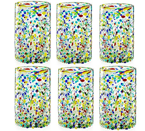 Hand Blown Mexican Drinking Glasses – Set of 6 Confetti Rock Design Glasses by The Wine Savant