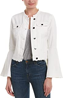 Womens Bell Sleeve Distressed Denim Jacket