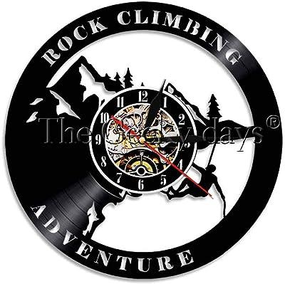 Rock On Climbing Decorative Lighting Travelling Adventure Vinyl Record Clock Hiking Wall Art Clock for Climber Gift with LED Nightlight