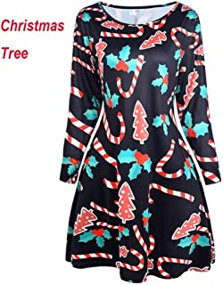 FDBZ Autumn Winter Women Chrismas Clothes Long Sleeve O Neck Christmas Tree Snowman Printed Slim Dress Knee Length Big Size |Dresses,330 Christmas Tree,4XL
