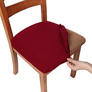 smiry Stretch Spandex Jacquard Dining Room Chair Seat Covers, Removable Washable Anti-Dust Dinning Upholstered Chair Seat Cushion Slipcovers - Set of 4, Burgundy