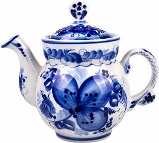 Gzhel Hand-painted Clover Teapot Blue and White Porcelain. 21 fl oz (620 ml)