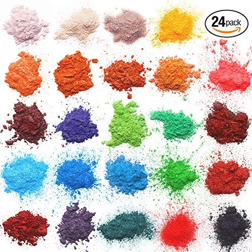 Epoxy Resin Dye  Mica Powder  24 Powdered Pigments Set  Soap Dye  Hand Soap Making Supplies  Eyeshadow and Lips Makeup Dye  Slime Pigment