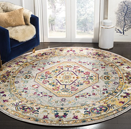 Safavieh Savannah Collection Premium Wool Round Area Rug, 7', Grey