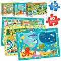 Jigsaw Puzzles Games for Kids Ages 4 5 6 with Sea and Zoo Animals City Life - 3 Pack Puzzles Girl Boy Toys Age 5-6 - Fun Educational Floor Puzzles for Kids Family or Friends Activities