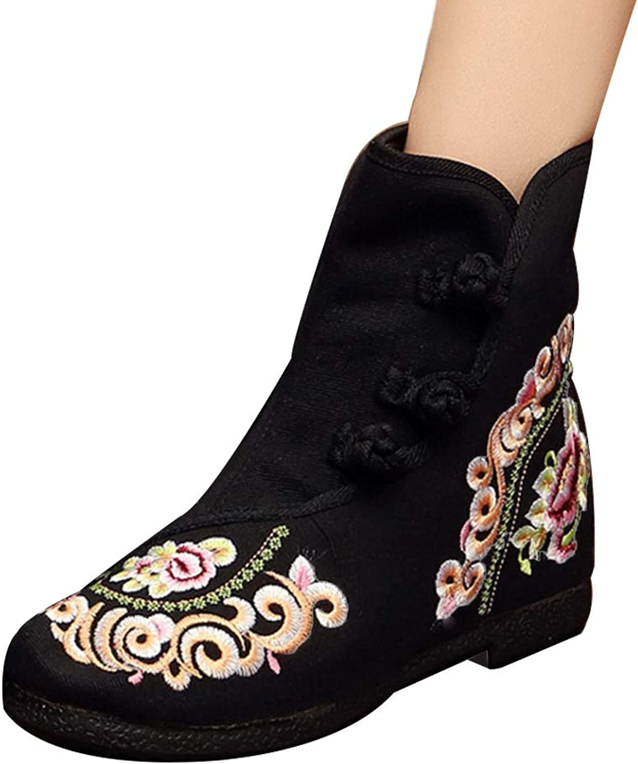Huicai Women's Embroidered shoes Buckle Strap Flower Pattern Slip On Wedge Boot
