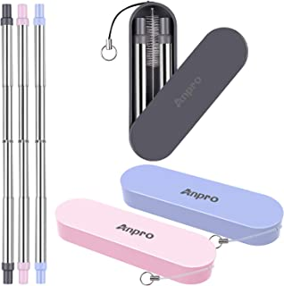 Reusable Straws Telescopic Metal Travel Straws - Anpro Stainless Steel Drinking Straws, Portable Collapsible Straw with Case & Key chain & Cleaning Brush, 3 Pack