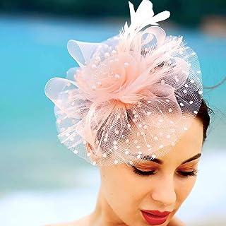 Zoestar Black Tea Party Fascinators Flower Mesh Hair Clip and Headband Feather Fascinator Top Hatfor Women (Orange)