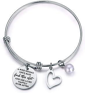Jvvsci A Wise Woman Once Said and She Lived Happily Ever After Bracelet Inspirational Bangle Uplifting Gift Motivational J...