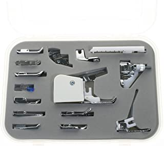 BIGTEDDY 15pc Domestic Sewing Machine Snap-On Presser Walking Foot Kit for Brother, Singer, Babylock, Janome, Pfaff, Kenmore, Riccar, Necchi