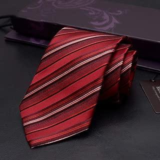 Men's Fashion Casual Striped Tie Silk Tie is Suitable for Work, Parties, Weddings, Business, 145 × 9cm Men's Gift CQQO (Color : E)