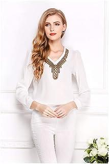 Retro V-Neck Sexy Lady Long Sleeve Spring Women Chiffon Shirt