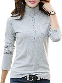WSPLYSPJY Women's Long Sleeve High Neck Slim Fit Plain Top Tshirt