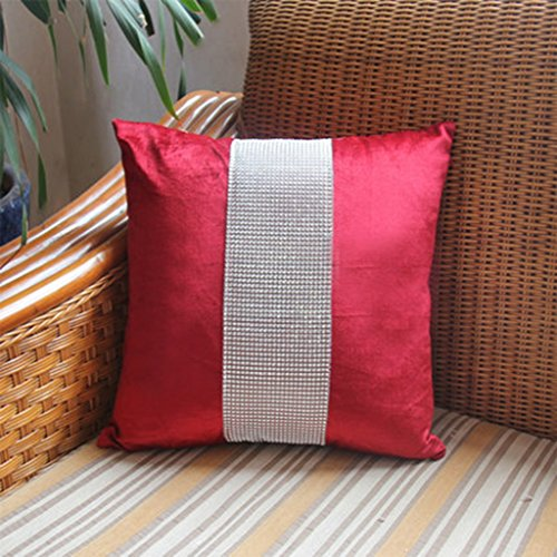 ZUOANCHEN Coussin Luxe Européen Brillant Diamant Tissu Canapé Oreiller Tissu Siège Lit Coussin Oreiller avec Oreiller De Base Gris/Marron / Noir/Rouge. 45 * 45CM (Couleur : Red)
