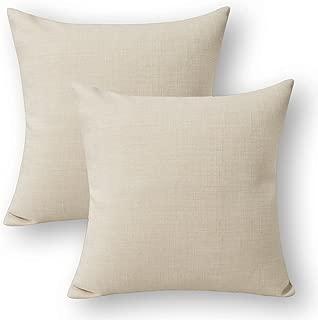 Jeanerlor Square Faux Lined Linen Decorative Striped Throw Pillow Case 24x24 inch Cushion Sham Set for Garden,2 Packs,(60 x 60 cm),Light Linen