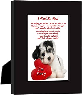 Poetry Gifts Say I'm Sorry in a Cute Way with This Puppy and Heart Frame