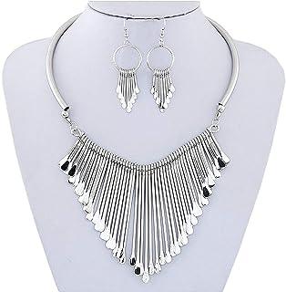 Juland Statement Bib Necklace with Metal Fringe Drop Choker Necklace Earrings Set Fashion Bohemian Punk Ethnic Style for W...