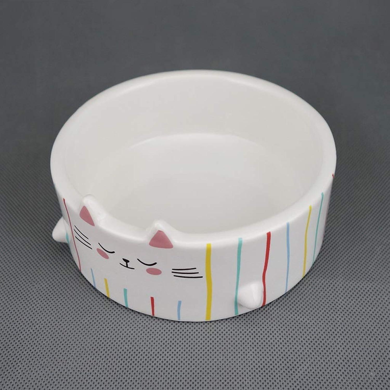HVTKL Cat Bowl Cute Cat Ears Ceramic Bowl Tail Cat Food Dog Food Bowl Pet Supplies