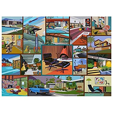 Mid Century Modern Jigsaw Puzzle - 1000 Piece - Adult Jigsaw Puzzle Celebrating Modern Vintage Décor & Modern Art by Hennessy Puzzles - Original Artwork - Made in the USA from Recycled Materials