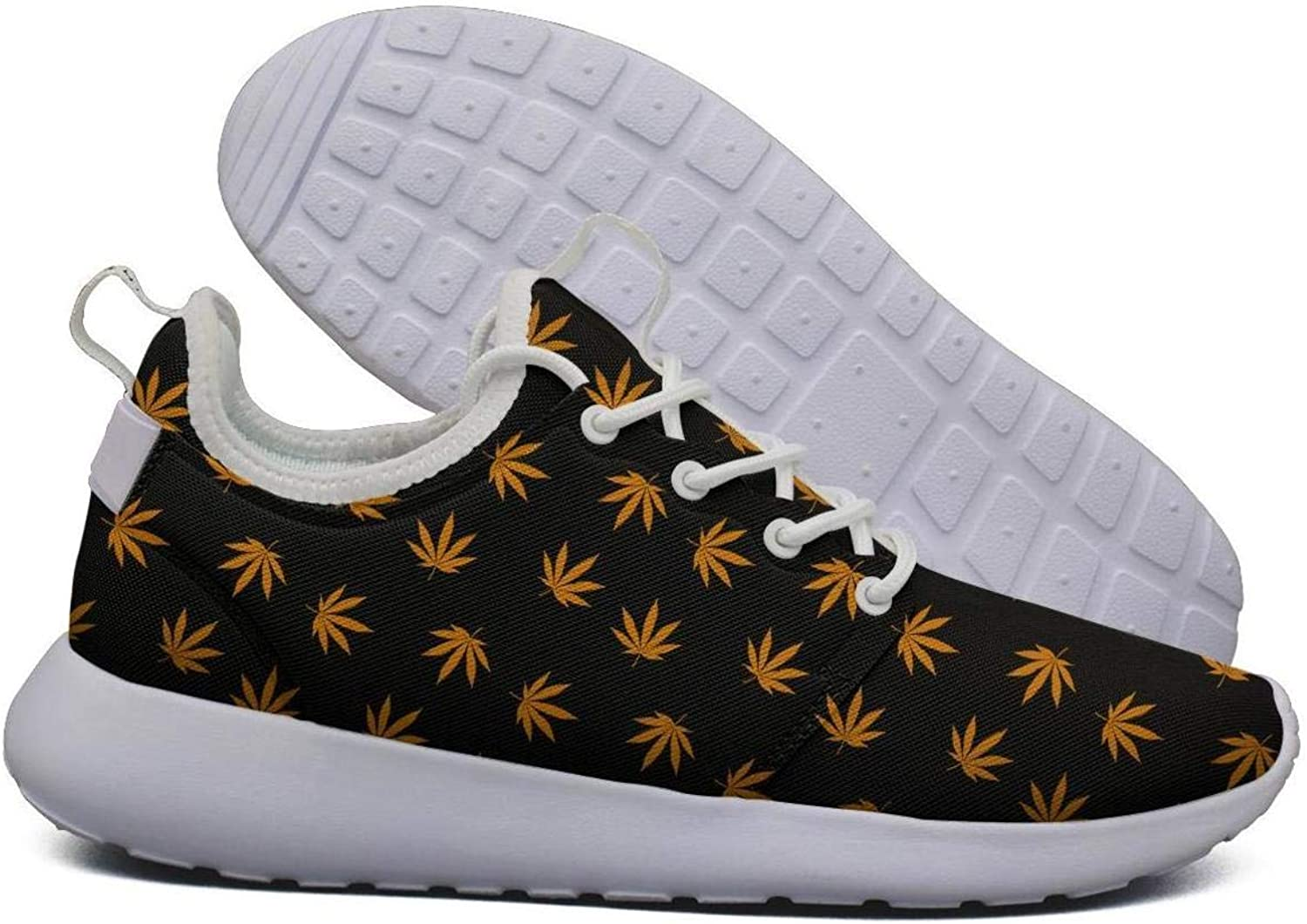 Hoohle Sports Womens Cannabis Leaf Flex Mesh Roshe 2 Lightweight Breathable Cross-Trainer shoes