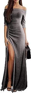 Off Shoulder Party Dress,Women Sequins Formal Dress Long Sleeve Slit Maxi Dress