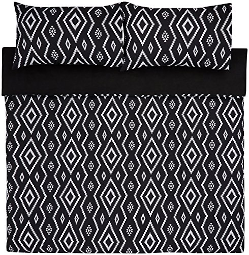 Amazon Basics - Juego de funda nórdica de microfibra ligera de microfibra, 260 x 220 cm, Negro (Black Aztec)