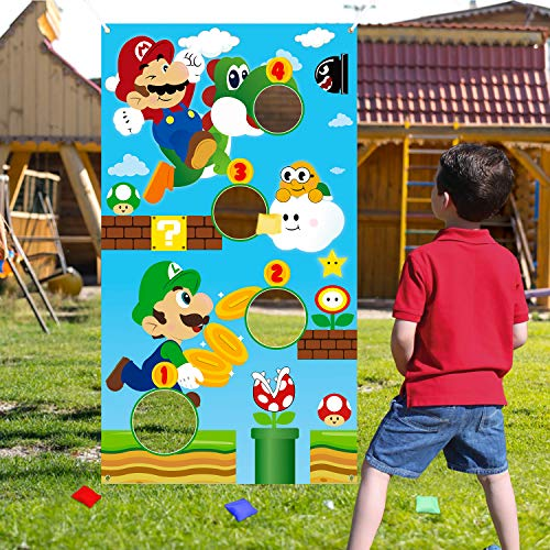 ANGOLIO Mario Toss Game Themed Mario Toss Games with 4 Bean Bags Fun Throwing Game Banner Backdrop Kit Summer Party Supplies Great Themed Party Acticities Carnival Favors Group Sports for Kids Adults
