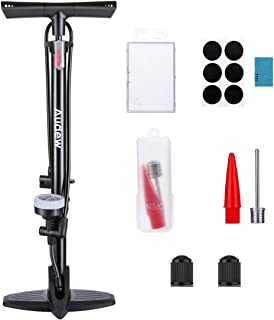 Audew Floor Bike Pump with Gauge - Steel Manufacturing Ergonomic Household Bicycle Tire Pump - 230Psi Reversible Presta and Schrader Dual Valves – Including Puncture Repair Tools and Inflating Kit