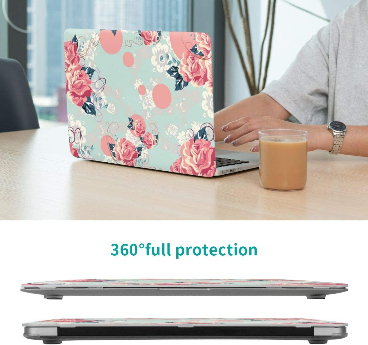 Hard Shell Case Protective Cover for Mac Air 13 Old Version 2017 2016 2015 2014 2013 2012 2011 2010 Vintage Garden Roses Compatible with MacBook Air 13 Inch Case A1466 A1369